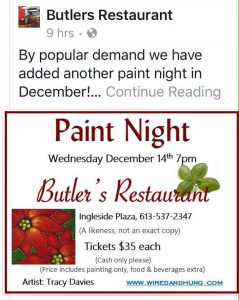 Wine & Paint Night With Tracy Lynn Davies @ Butlers Restaurant, Ingleside | Ingleside | Ontario | Canada