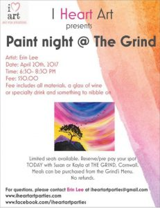 'I Heart Art' - Paint Night @ the Grind Cafe & Wine Bar | Cornwall | Ontario | Canada